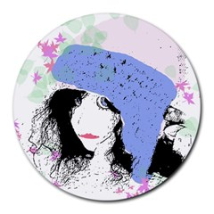 Girl With Hat Round Mousepads