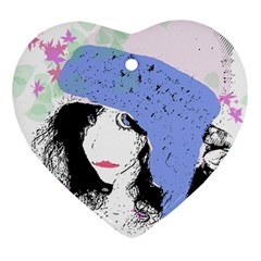 Girl With Hat Heart Ornament (two Sides) by snowwhitegirl