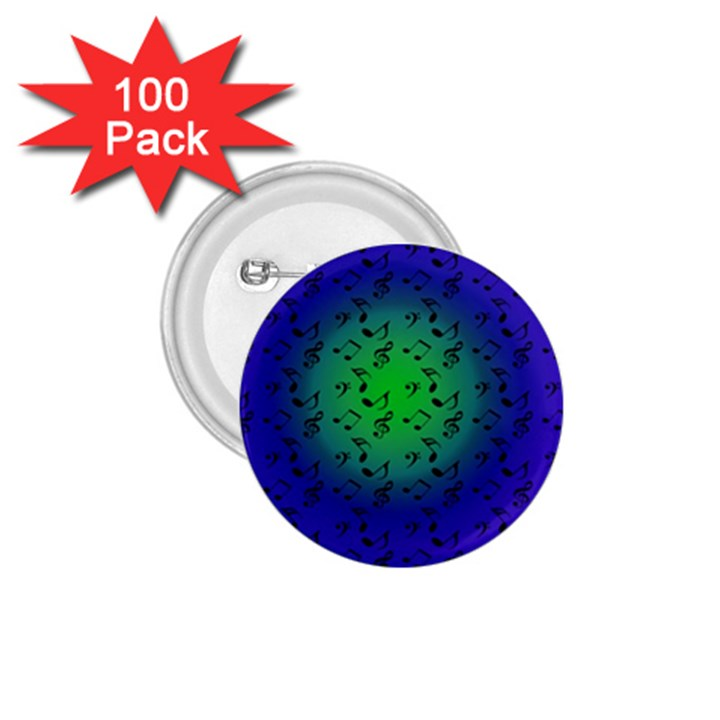 Blue Music Green Moon 1.75  Buttons (100 pack)