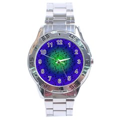Blue Music Green Moon Stainless Steel Analogue Watch by snowwhitegirl