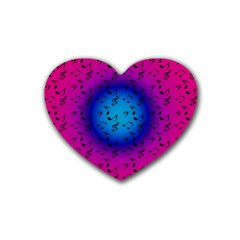 Pink Music Blue  Moon Rubber Coaster (heart)  by snowwhitegirl