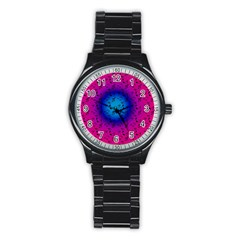 Pink Music Blue  Moon Stainless Steel Round Watch by snowwhitegirl