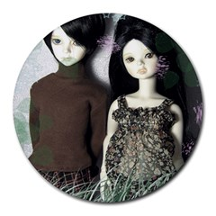 Dolls In The Grass Round Mousepads
