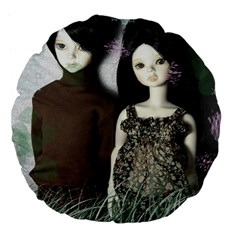 Dolls In The Grass Large 18  Premium Flano Round Cushions by snowwhitegirl