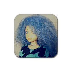 Blue Hair Boy Rubber Coaster (square)  by snowwhitegirl
