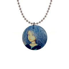 Blue Hair Boy Button Necklaces by snowwhitegirl