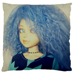 Blue Hair Boy Large Cushion Case (one Side) by snowwhitegirl
