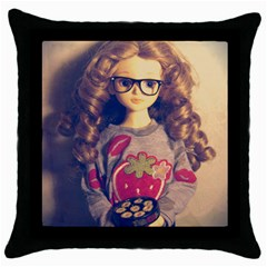 Eating Sushi Throw Pillow Case (black) by snowwhitegirl