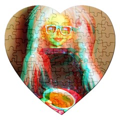 Eating Lunch 3d Jigsaw Puzzle (heart) by snowwhitegirl