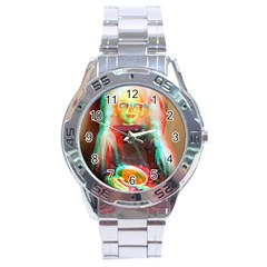 Eating Lunch 3d Stainless Steel Analogue Watch by snowwhitegirl