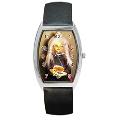 Eating Lunch Barrel Style Metal Watch by snowwhitegirl