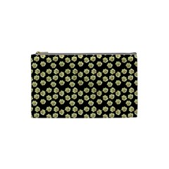 Antique Flowers Black Cosmetic Bag (small) by snowwhitegirl