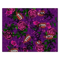 Purple  Rose Vampire Rectangular Jigsaw Puzzl by snowwhitegirl