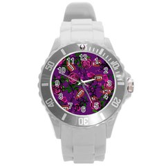 Purple  Rose Vampire Round Plastic Sport Watch (l) by snowwhitegirl