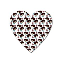 Redhead Girl Pattern Heart Magnet