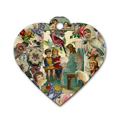 Angel Collage Dog Tag Heart (two Sides) by snowwhitegirl