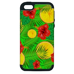 Orange Tropics Green Apple Iphone 5 Hardshell Case (pc+silicone) by snowwhitegirl