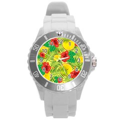 Orange Tropics Yellow Round Plastic Sport Watch (l) by snowwhitegirl