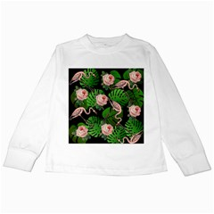 Flamingo Floral Black Kids Long Sleeve T Shirts by snowwhitegirl