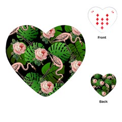 Flamingo Floral Black Playing Cards (heart)  by snowwhitegirl