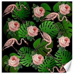Flamingo Floral Black Canvas 12  X 12   by snowwhitegirl