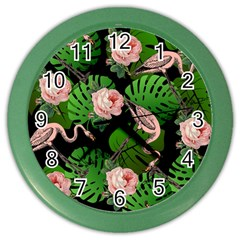 Flamingo Floral Black Color Wall Clock by snowwhitegirl