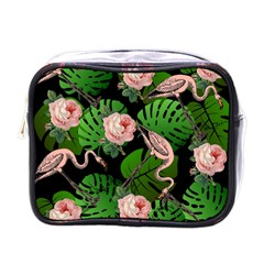Flamingo Floral Black Mini Toiletries Bag (one Side) by snowwhitegirl