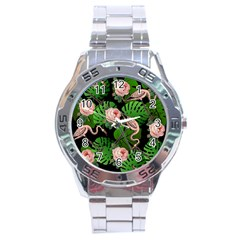 Flamingo Floral Black Stainless Steel Analogue Watch by snowwhitegirl