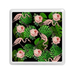 Flamingo Floral Black Memory Card Reader (square) by snowwhitegirl