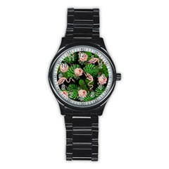 Flamingo Floral Black Stainless Steel Round Watch by snowwhitegirl