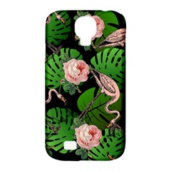 Flamingo Floral Black Samsung Galaxy S4 Classic Hardshell Case (pc+silicone) by snowwhitegirl
