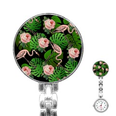 Flamingo Floral Black Stainless Steel Nurses Watch by snowwhitegirl