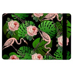 Flamingo Floral Black Ipad Air Flip by snowwhitegirl