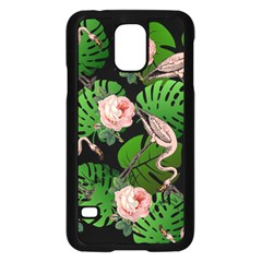 Flamingo Floral Black Samsung Galaxy S5 Case (black) by snowwhitegirl