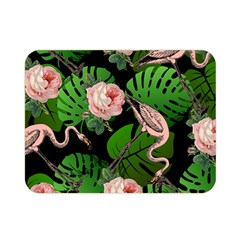 Flamingo Floral Black Double Sided Flano Blanket (mini)  by snowwhitegirl