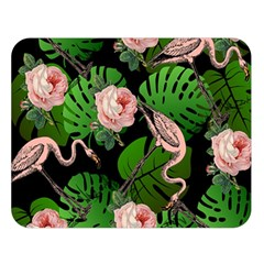 Flamingo Floral Black Double Sided Flano Blanket (large)  by snowwhitegirl