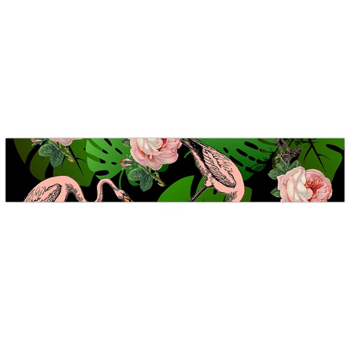 Flamingo Floral Black Large Flano Scarf