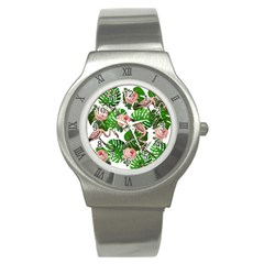 Flamingo Floral White Stainless Steel Watch by snowwhitegirl