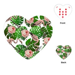 Flamingo Floral White Playing Cards (heart)  by snowwhitegirl