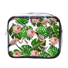 Flamingo Floral White Mini Toiletries Bag (one Side) by snowwhitegirl