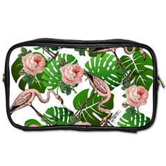 Flamingo Floral White Toiletries Bag (two Sides) by snowwhitegirl