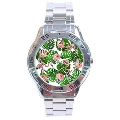 Flamingo Floral White Stainless Steel Analogue Watch by snowwhitegirl