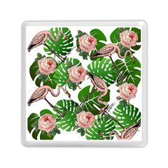 Flamingo Floral White Memory Card Reader (square) by snowwhitegirl