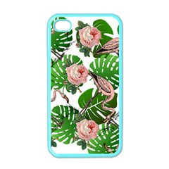 Flamingo Floral White Apple Iphone 4 Case (color) by snowwhitegirl