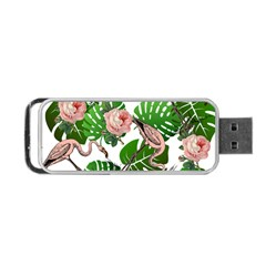 Flamingo Floral White Portable Usb Flash (one Side)