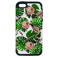 Flamingo Floral White Apple Iphone 5 Hardshell Case (pc+silicone) by snowwhitegirl