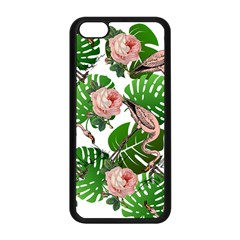 Flamingo Floral White Apple Iphone 5c Seamless Case (black) by snowwhitegirl