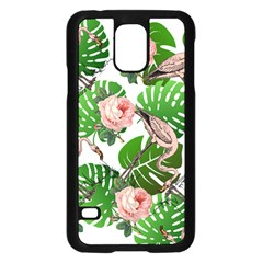 Flamingo Floral White Samsung Galaxy S5 Case (black) by snowwhitegirl