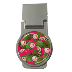 Flamingo Floral Pink Money Clips (round)  by snowwhitegirl