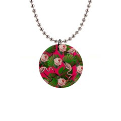 Flamingo Floral Pink Button Necklaces by snowwhitegirl